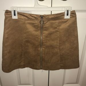 Brown mini skirt with front zipper